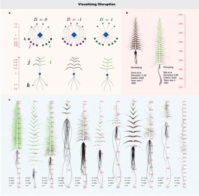 한 논문의 파괴성을 나타내는 정도를 시각화하는 방법. 마치 나무처럼 생긴 이 시각화로 한 논문이 한 분야에서 얼마나 파괴적인지를 알아볼 수 있다. 초록색 가지가 많이 뻗어나오는 논문일 수록 파괴적이며 노벨상에 가까운 논문이고, 검은색 가지와 긴 뿌리는 그 반대를 의미한다. Wu, L., Wang, D., & Evans, J. A. (2019).