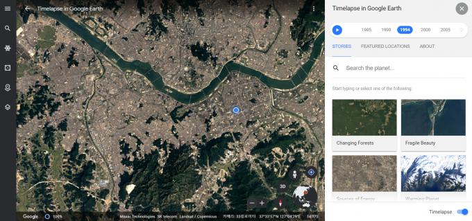 구글어스 ′타임랩스′ 기능을 이용해 바라본 1994년 당시 서울의 모습. 구글어스 페이지 캡처