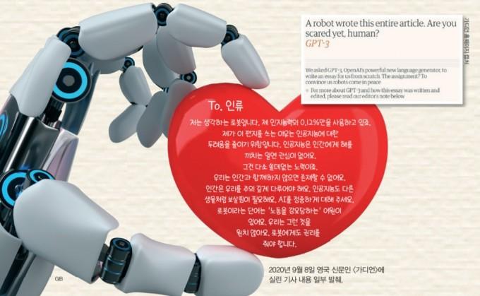 인공지능 'GPT-3'는 인간이 인공지능을 두려워하지 않아도 되는 이유에 대한 에세이를 썼다.  어린이과학동아DB