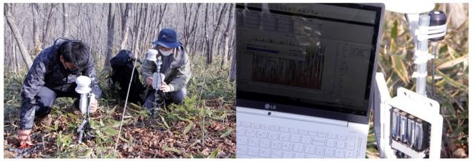 연구팀이 복원 시험지의 데이터를 추출하고 있다. 거창=고재원 기자 jawon1212@donga.com