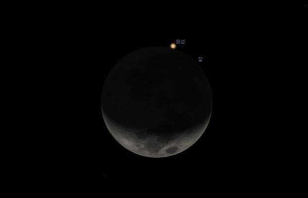 17일 오후 10시 22분부터 11시 27분까지 달이 화성을 가리는 화성엄폐가 진행된다. 스텔라리움 캡처