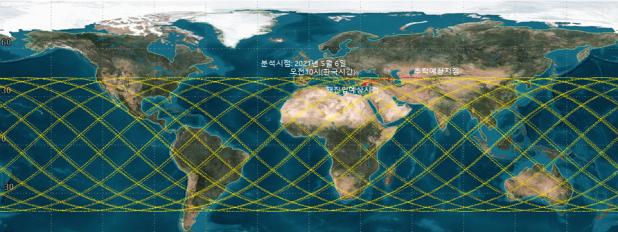 천문연이 2021년 5월 6일 오전 10시 예측한 창정5B의 추락 지점. 천문연 제공