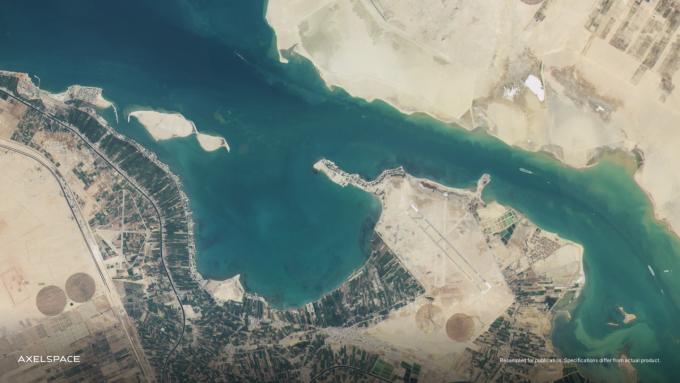 GRUS-1B가 지난달 29일 촬영한 이집트 수에즈 운하.악셀스페이스 제공