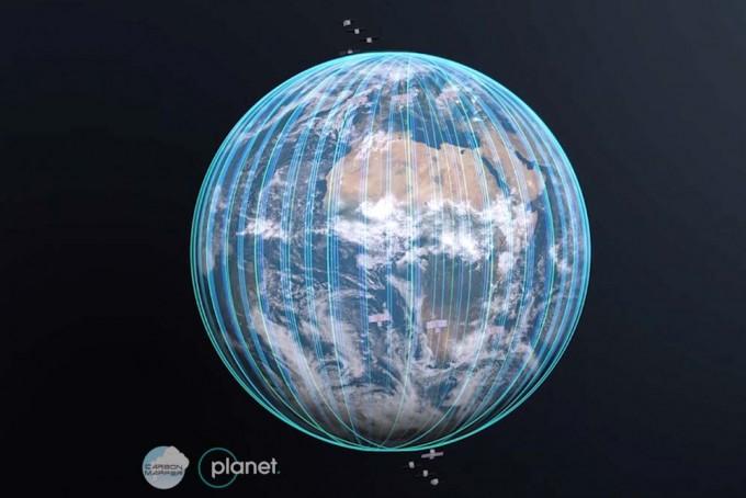 민간단체 카본매퍼가 추진하고 있는 위성네트워크의 상상도. 카본매퍼 제공