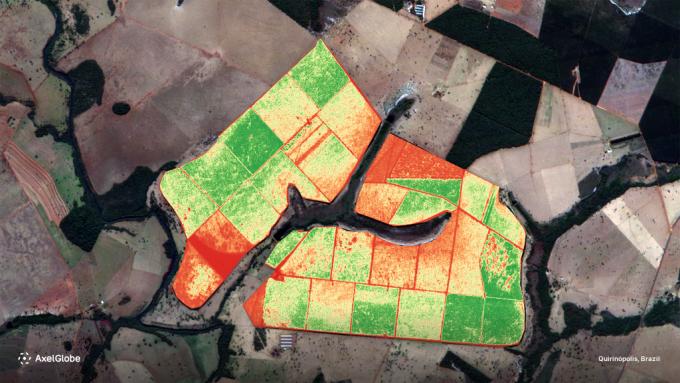 브라질 사탕 수수 밭의 식생을 분석했다. 악셀스페이스 제공