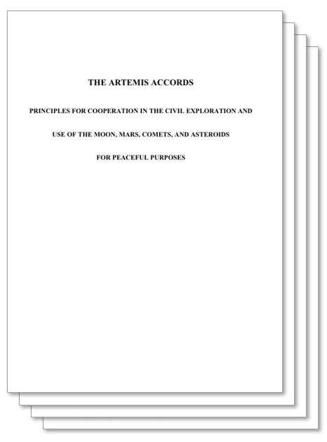 지난해 10월 13일 미국항공우주국(NASA)이 호주, 캐나다, 일본, 룩셈부르크, 이탈리아, 영국, 아랍에미리트(UAE) 등 7개 국가와 체결한 아르테미스 협정 체결서 표지. 아르테미스 협정 체결서