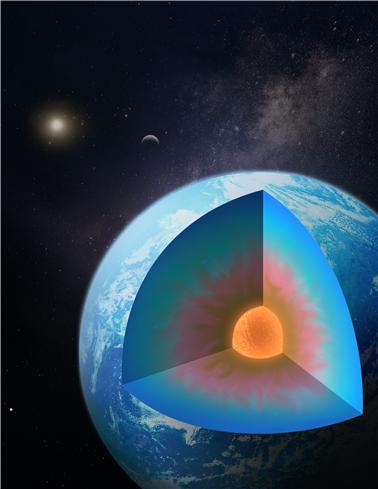 물이 풍부한 외계 행성 내부 구조를 형상화한 그림. 맨틀 내부의 물층(파란색)이 암석층(갈색)과 섞여 점진적인 변화를 보인다. 연세대 제공