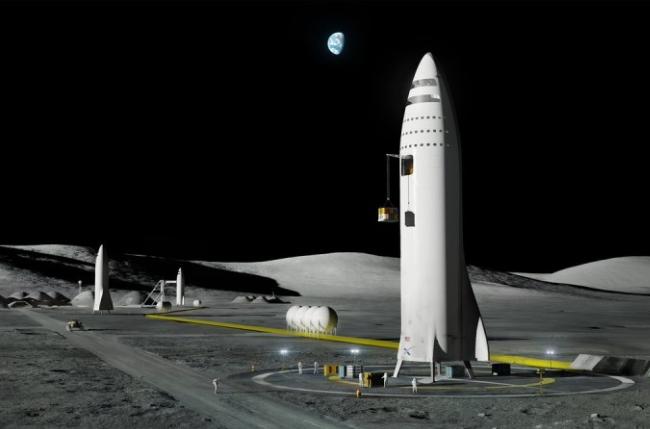 '휴먼 랜딩 시스템'이라 불리는 달 착륙선 상상도. 스페이스X가 제작을 맡았다. 스페이스X 제공