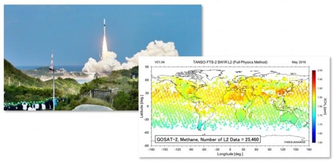 2018년 일본의 온실가스감시위성  고셋-2 발사장면.고샛-2가 측정한 메탄 농도의 분포 데이터. 일본국립환경연구소 제공
