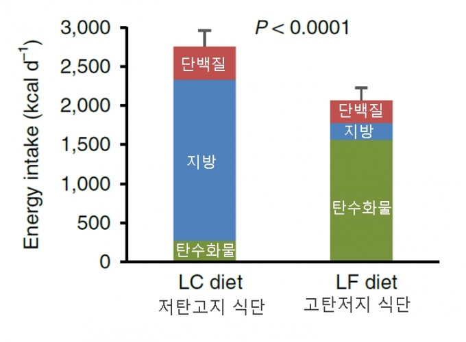 사람을 대상으로 한 연구에서도 탄수화물-인슐린 모형의 예측과는 반대로 고탄저지 식단(LF diet)이 저탄고지 식단(LC diet)에 비해 하루 평균 700칼로리를 덜 섭취하는 것으로 밝혀졌다. 단 두 식단 모두 가공이 최소화된 음식이다.  ′네이처 의학′ 제공