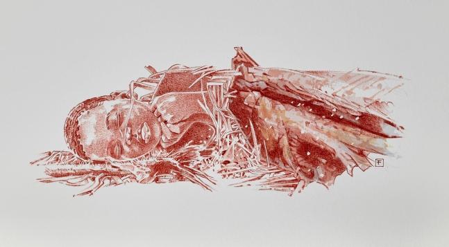 소년이 수의에 덮인 채 매장되는 모습의 상상도. 네이처 제공