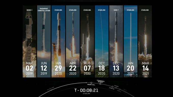 스페이스X의 재사용 로켓 ′팰컨9′의 1단 추진체 중 하나인 B1051가 9일 10번 비행에 쓰이는 기록을 썼다. 스페이스X 트위터 캡처