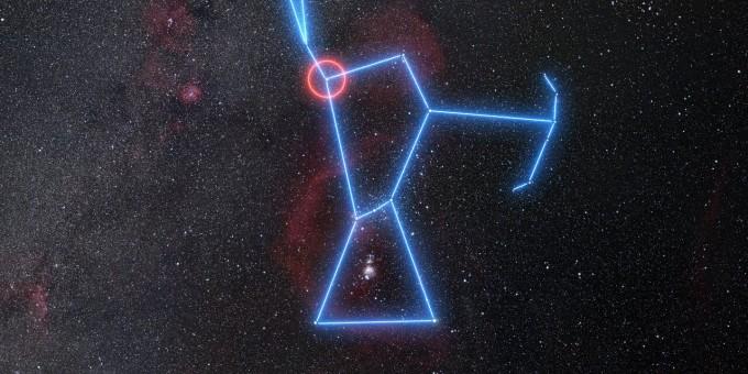 베텔게우스는 오리온 자리의 겨드랑이 부분에 위치한 별이다. 유럽남방천문대 제공
