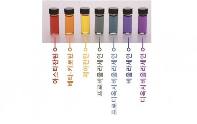 연구팀이 시스템대사공학을 통해 미생물 대사회로를 구축 및 최적화하고 세포막 개량을 통해 색소 생산량을 증가시켜 만든 일곱 빛깔의 무지개 천연 색소. KAIST 제공.