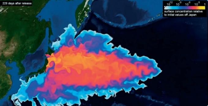 일본 후쿠시마에서 오염수를 방류한 지 229일이 지났을 때의 확산 상황을 나타낸 그림이다. 독일 킬대학교 연구팀은 2012년 오염수가 처음 방출될 때의 농도가 1이면 제주에 도착할 때쯤엔 농도가 1천조분의 1이 된다고 밝혔다. 독일 킬대학교 연구팀 제공