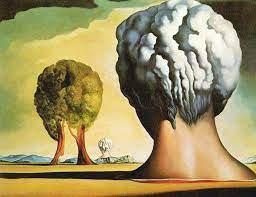 '꿈을 그리는 화가'로 불렸던 살바도르 달리의 작품 '비키니섬의 세 스핑크스'. 원자폭탄 실험이라는 시사적인 주제를 다뤘다는 사실을 잊게 할 정도로 기발한 상상력이 돋보인다. 과적합뇌가설에 따르면 이런 그림을 감상하면 뇌의 과적합을 완화할 수 있다.