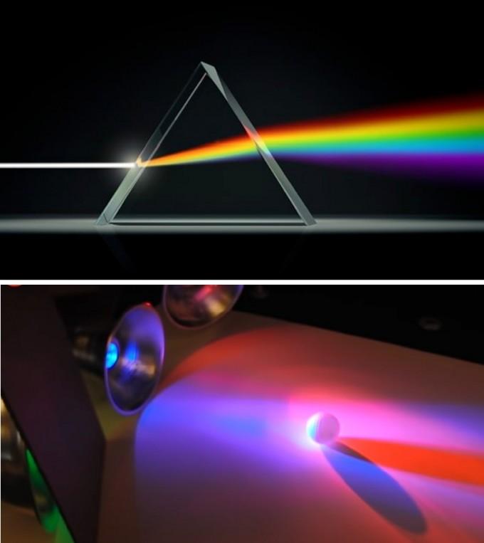 뉴롭신은 빛 스펙트럼의 보랏빛에만 반응한다(위). 반면 형광등이나 LED처럼 파란빛과 빨간빛이 더해져 만들어진 보랏빛은 소용이 없다(아래).  Prism Institute, 유튜브 캡처