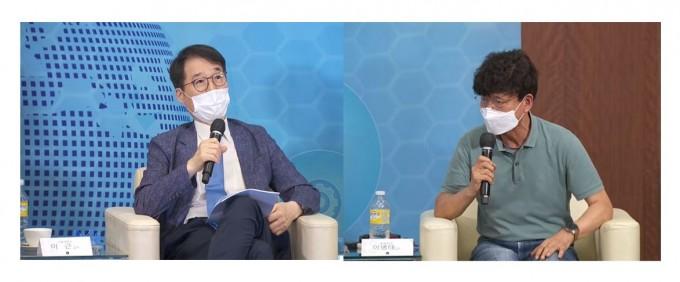 왼쪽이 이근 서울대 경제학과 교수, 오른쪽이 이병태 KAIST 테크노경영대학원 교수. 한국공학한림원 유튜브 캡쳐