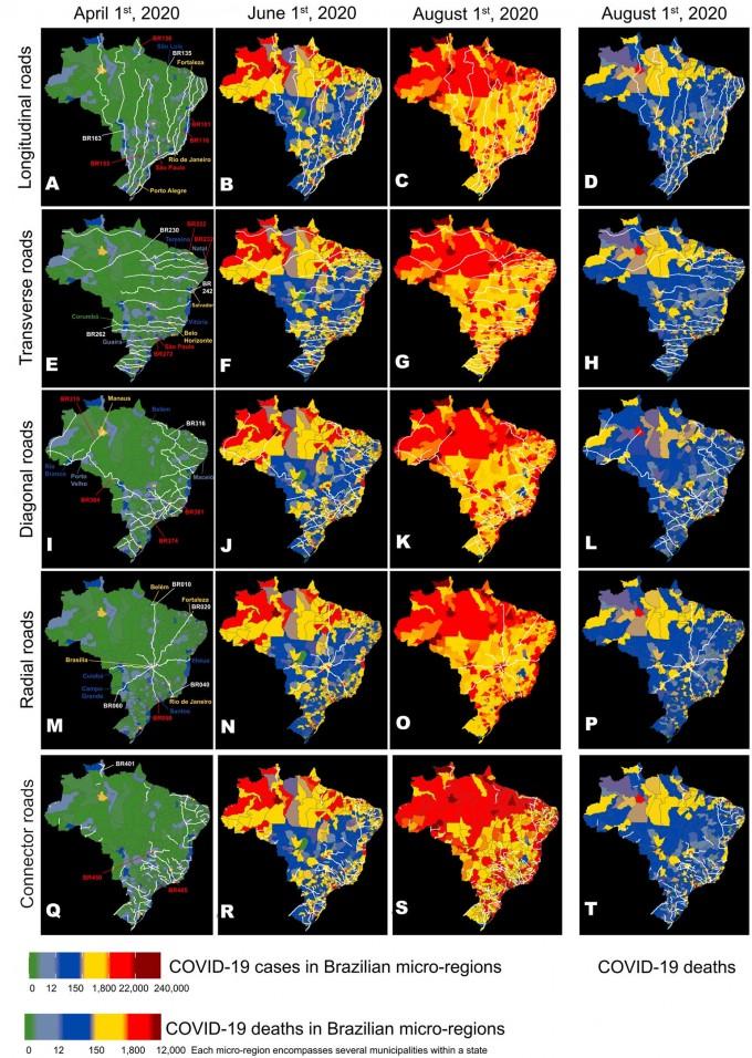 지난해 4월 1일, 6월 1일, 8월 1일(왼쪽부터 순서대로) 브라질에서 고속도로를 통한 인구의 이동을 조사한 지도. 사이언티픽 리포트 제공