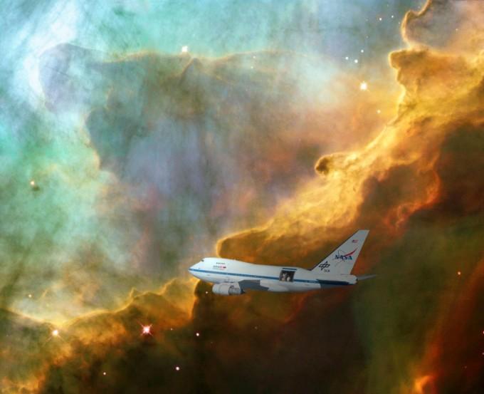 NASA의 성층권적외선천문대(SOFIA)가 우주를 관측하는 모습이다. NASA 제공