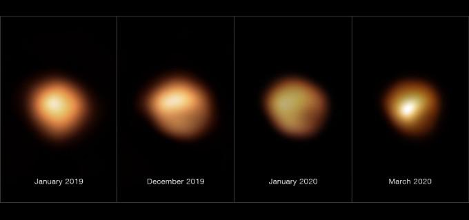 겨울철 밤하늘에 뜨는 별인 베텔게우스는 2019년 10월부터 2020년 3월까지 급격히 빛을 잃는 현상을 보였다. 유럽남방천문대 제공