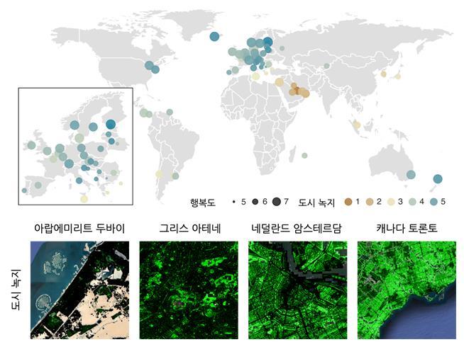 전 세계 60개국 도심의 녹지 비율(원 색)과 행복도 조사 결과(원 크기)를 비교하면 둘 사이의 상관관계가 포착된다. 왼쪽 아래 박스는 유럽 국가의 상세한 결과를 보여준다. 그간 녹지 실태 조사가 현장 방문 혹은 항공사진을 기반으로 했다면 이번 연구에서는 여름철 위성영상 자료를 활용해 더 광범위한 지역에 대한 분석이 가능했다. IBS 제공.