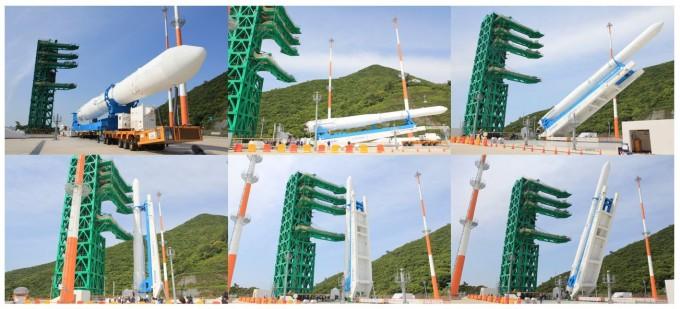(왼쪽 상단부터 시계방향)누리호가 기립하고 있다. 고흥=고재원 기자 jawon1212@donga.com