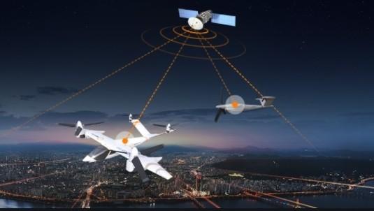 초고속 인터넷 서비스 제공을 위한 저궤도 인공위성 네트워크 개념도. 한화시스템 제공