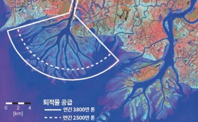해수면 상승으로 인한 토지 손실을 막기 위해 미시시피 강 하구의 흐름을 바꾸는 인공수로를 건설해 퇴적을 유도하고 있다. 인공수로에서는 속도가 낮아져 퇴적이 잘 일어난다(위 왼쪽 표시