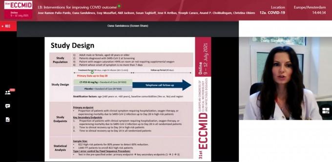 오아나 산두레스쿠 루마니아 캐롤 다빌라 의학·약학 대학 박사가 지난 12일 온라인으로 진행된 '제31차 유럽 임상미생물학 및 감염질환학회(ECCMID)'에서 렉키로나의 글로벌 임상 3상 결과를 발표하고 있다. 셀트리온 제공.