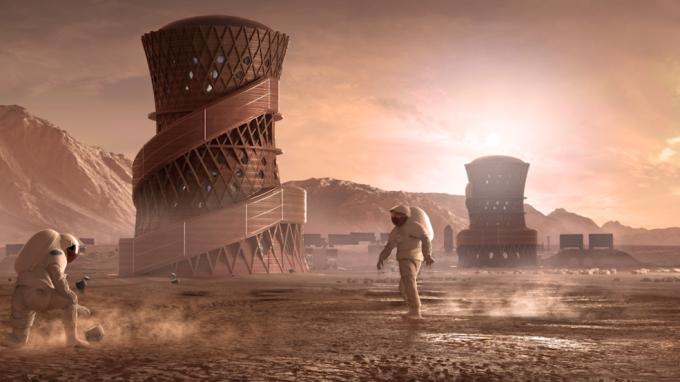 NASA의 3D 프린팅 우주기지 경연대회에서 우승을 차지한 팀의 작품.  SEArch+/Apis Cor 팀 제공
