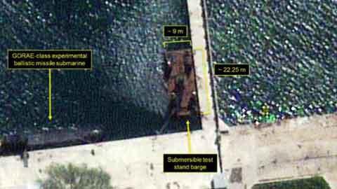 북 전문 매체 38노스, 북서 SLBM 수중 시험발사용 바지선 포착