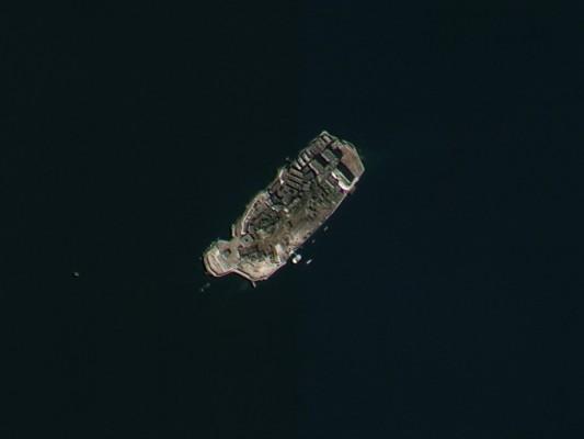 우주에서 본 일제 강제징용 상징 '군함도'
