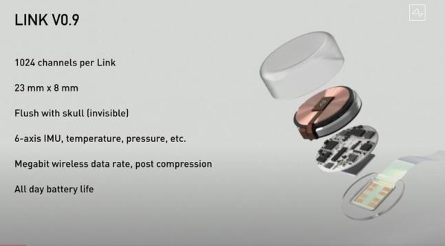 뉴럴링크가 개발한 새로운 뇌-컴퓨터 인터페이스 칩 ′링크 0.9′의 구조다. 유튜브 캡처