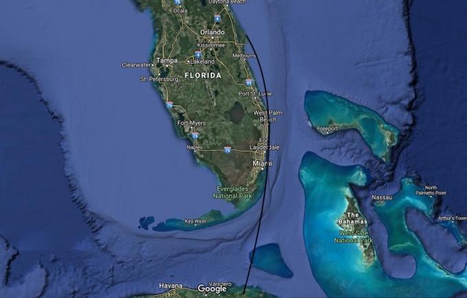 팰컨9이 발사돼 날아간 궤적을 지도에 표시했다. 남동쪽으로 발사된 팰컨9은 방향을 틀어 플로리다 해안선을 훑듯 날아간 후 쿠바 상공을 지났다. 스페이스플라이트나우 제공