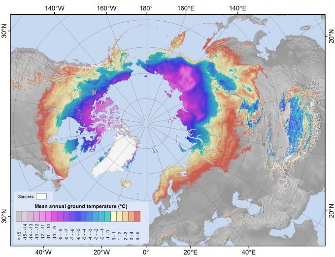 2000~2016년 북반구 영구동토층의 지상 기온을 색으로 표현했다. 노란색~빨간색이 영상의 기온을 보이는 곳으로, 시베리아 남부와 북유럽 북부, 알래스카 남부 등에서 영상의 기온을 보이고 있다. 오슬로대 제공