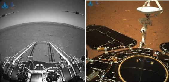 중국 화성 탐사 로버 착륙 성공 직후의 순간