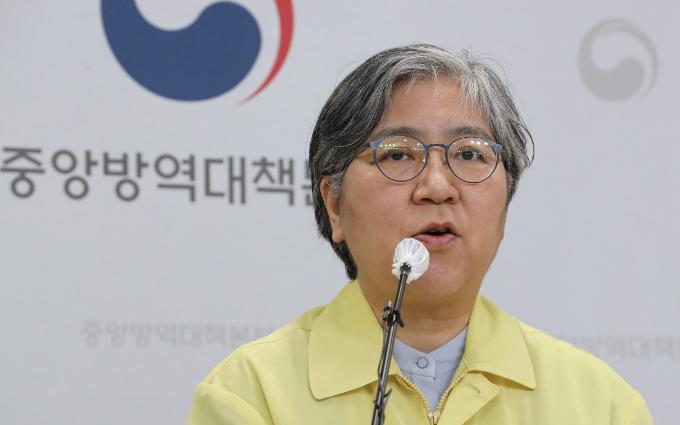 정은경 질병관리청장이 브리핑을 진행하고 있다. 연합뉴스 제공