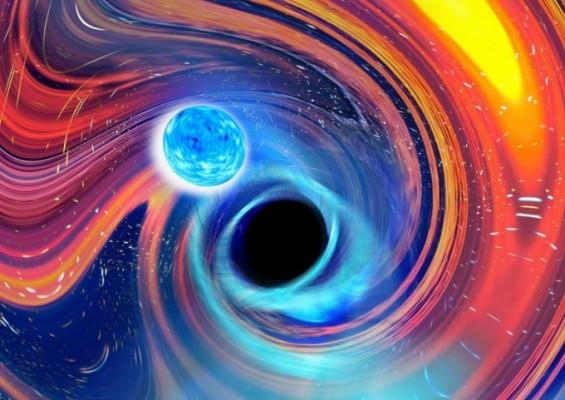 블랙홀이 중성자별 먹어치웠다…블랙홀과 중성자별 충돌로 생긴 중력파 첫 관측