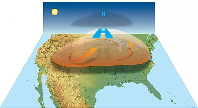 북미 지역에 형성된 열돔을 개념도로 나타냈다. NOAA 제공