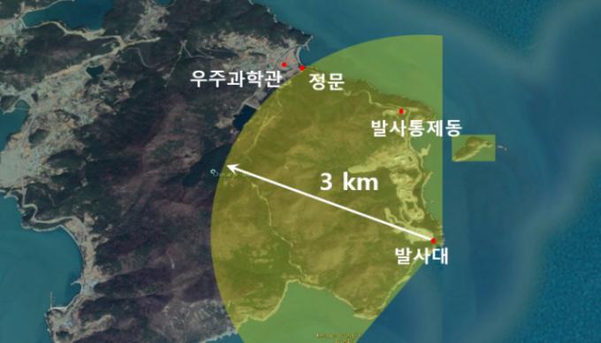 누리호 발사대 중심 반경 3km 지역이 육상통제 범위다. 과기정통부 제공.