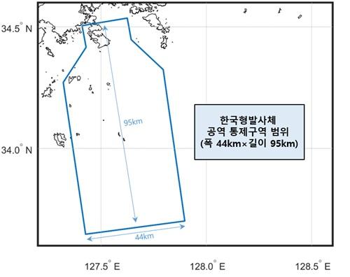 과학기술정보통신부는 올 10월 한국형발사체 누리호 첫 발사 때 발사체 비행방향에 따라 폭 44 km, 길이 95 km의 공역을 통제하기로 했다. 한국항공우주연구원 제공