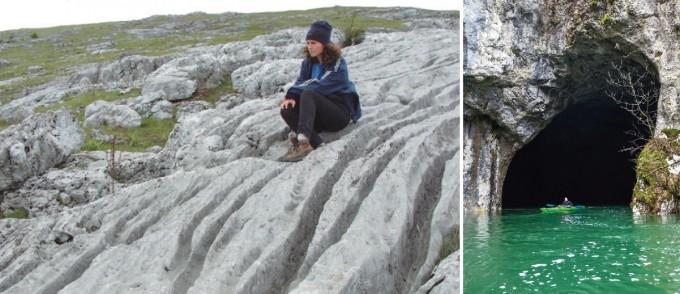 (왼쪽) 석회암 표면으로 빗물이 흐르면서 기다란 자국이 만들어졌다. (오른쪽)  유럽 슬로베니아의 석회동굴에서 엄청난 양의 지하수가 흘러나오고 있다. 석회동굴의 지하 하천을 통해 흐르는 물이다. 위키피디아 제공