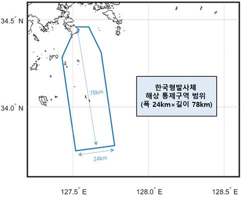 과학기술정보통신부는 10월 누리호 발사 때 비행방향으로 폭 24 km, 길이 78 km의 해상통제 해역을 설치하기로 했다. 한국항공우주연구원 제공