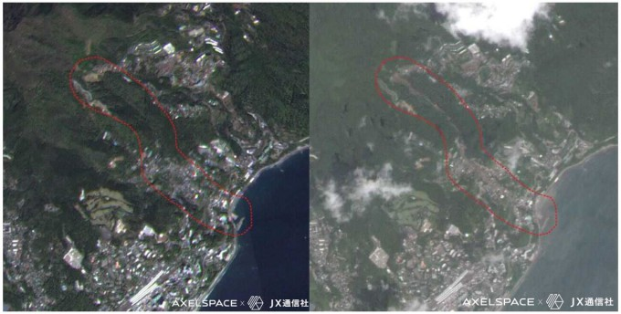 왼쪽은 지난 4월 9일 대규모 산사태가 발생하기 전 시즈오카현 아타미시를 위성으로 촬영한 것이고, 오른쪽은 그 후 7월 12일 촬영한 시의 모습이다. 악셀스페이스 제공