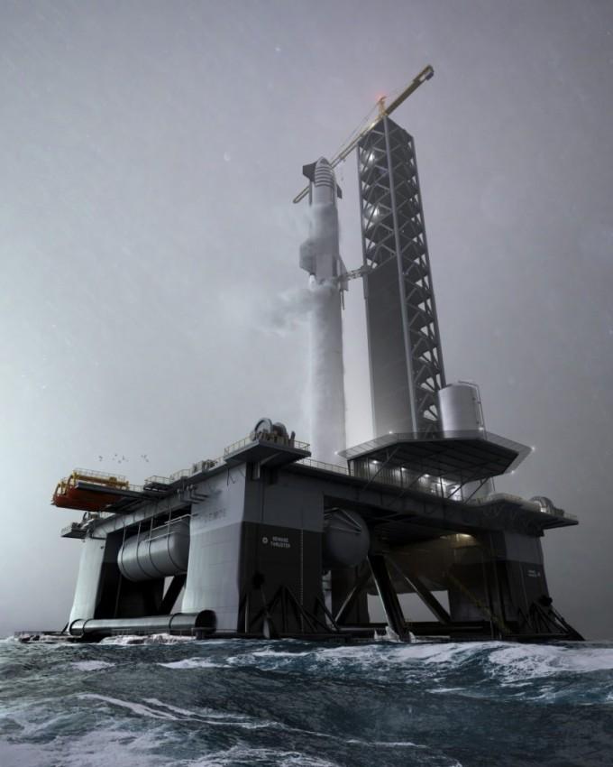 스페이스X가 짓고 있는 우주항 개념도. 일론머스크 트위터 캡처
