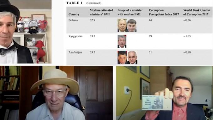 이그노벨상 경제학상에 선정된 프랑스 몽펠리에대 연구팀. 정치인의 비만 정도가 국가의 부패 정도와 연결된다는 연구를 설명하는 모습이다. 2021 이그노벨상 온라인 시상식 캡쳐