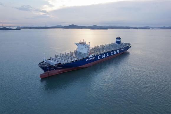 한국조선해양의 LNG 연료추진 초대형 컨테이너 선박. 한국공학한림원 제공